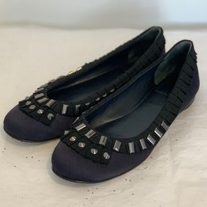 Tory Burch Courtney Studded Navy Satin Flats 8.5